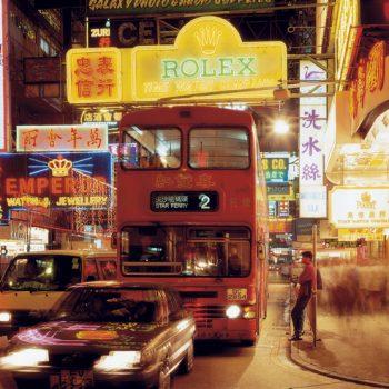 Hongkong, Kowloon, Leuchtreklamen, Autos, nachts